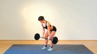 Die Übung Rudern mit Untergriff stärkt die gesamte Rückenmuskulatur, vor allem aber den Trapezmuskel ( Kapuzenmuskel) und...