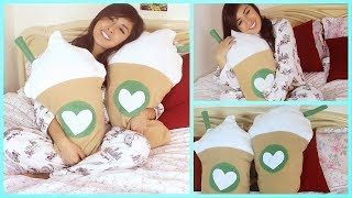 DIY Room Decor - Starbucks Frappuccino Inspired Pillow (NO SEW/SEW) - YouTube