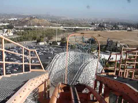 six flags magic mountain - Front Rider's Perspective on Goliath. Giovanola: Mega Coaster Length: 4500' Height: 235' Drop: 255' Inversions: 0 Speed: 85 mph Max Vertical Angle: 61 Degree...