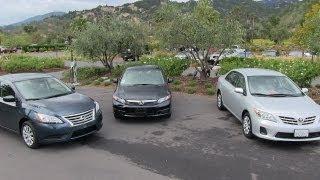 2013 Nissan Sentra Vs Honda Civic Vs Toyota Corolla 0-60 MPH Mashup Review