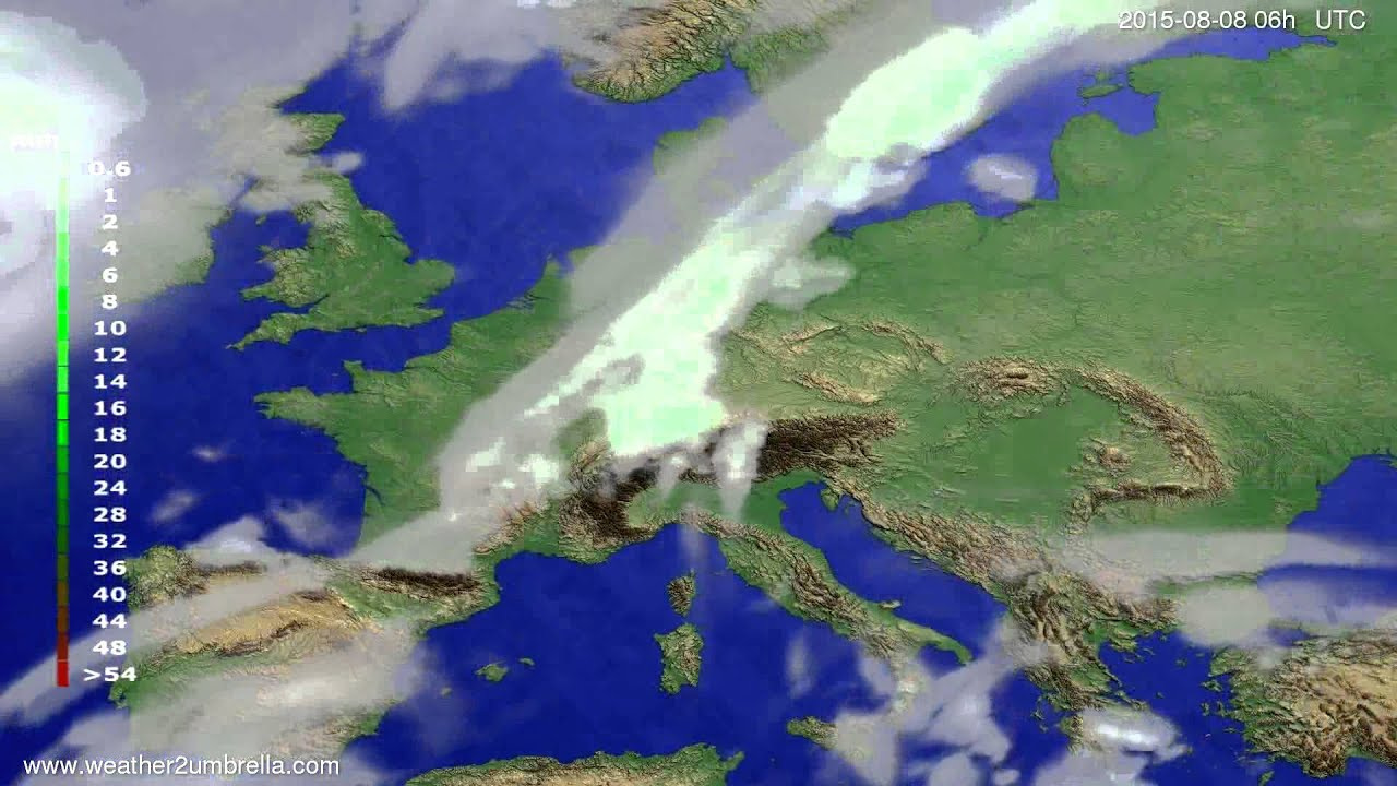 Precipitation forecast Europe 2015-08-04