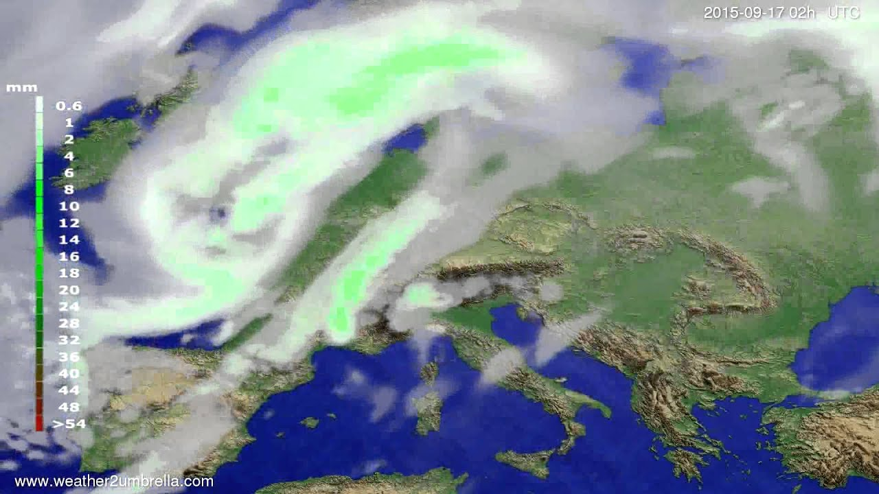 Precipitation forecast Europe 2015-09-13