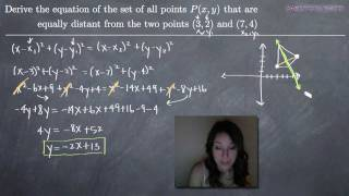 Analytic Geometry - Set Of Points Equally Distant From Two Points