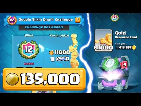 12 WINS DOUBLE ELIXIR DRAFT CHALLENGE (135,000 Gold) | Clash Royale