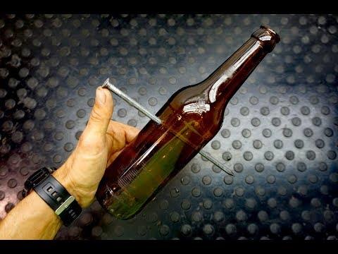 Как забить гвоздь в бутылку без использования молотка