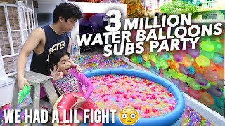 Video 3 MILLION WATER BALLOONS SUBSCRIBERS (LIL FIGHT) | Ranz and Niana MP3, 3GP, MP4, WEBM, AVI, FLV November 2018