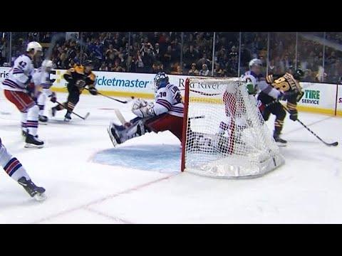 Video: Henrik Lundqvist makes lightning quick kick save on Torey Krug shot