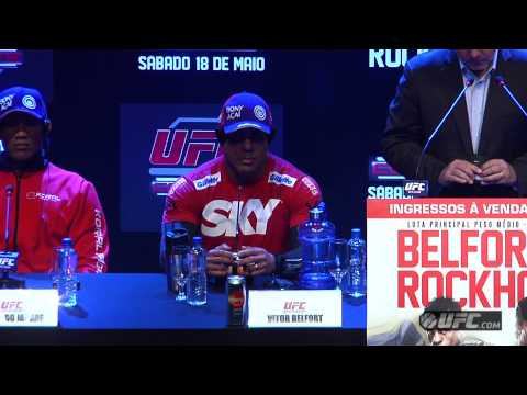 Conference - Hear the best soundbites from Vitor Belfort, Luke Rockhold, Jacare Souza and Chris Camozzi at the UFC on FX 8 pre-fight press conference.