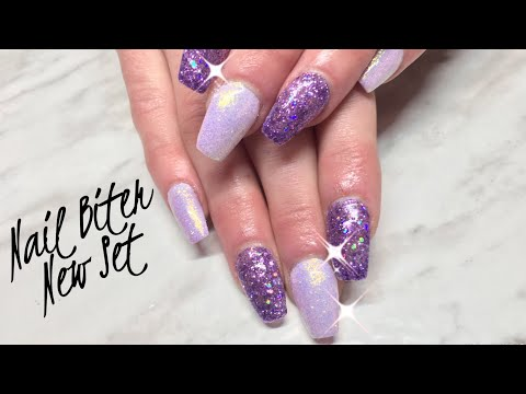 Gel nails - Watch me Work: Nail Biters Nails with Canni Gel Paint/Light Elegance Glitter