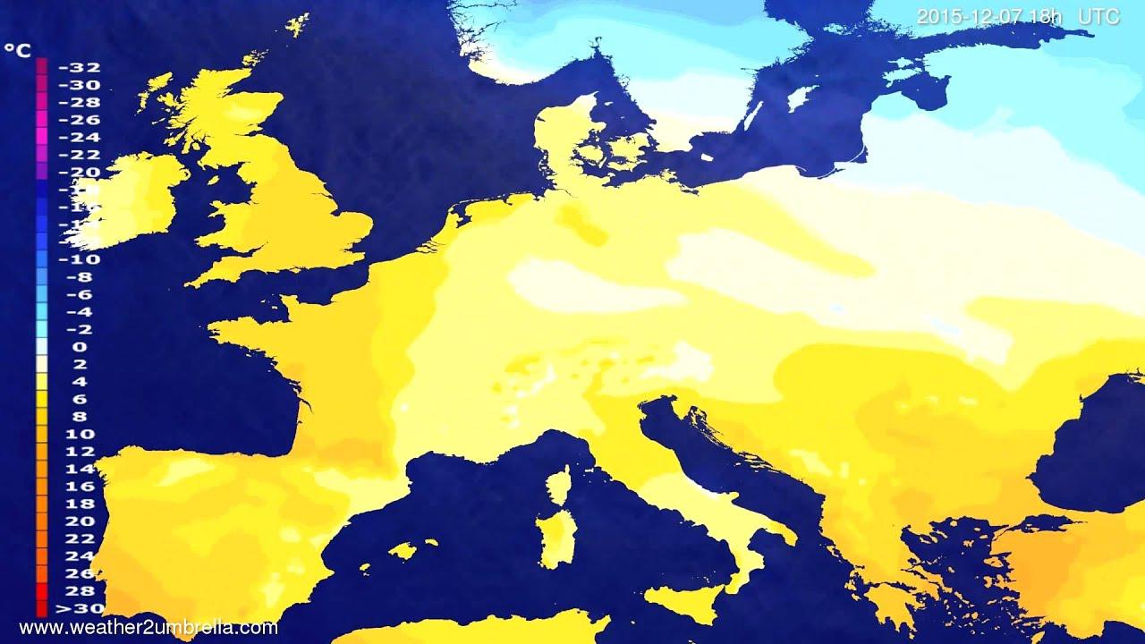 Temperature forecast Europe 2015-12-04