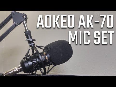 Aokeo AK-70 Mic set review (scissor stand, shock mount, pop filter) (видео)