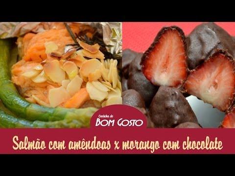 Salmão no Papelote e Barra de Morangos com Chocolate
