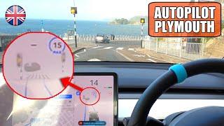 FSD shows ZEBRA CROSSING in UK on EPIC 'One Way' Seaside Road   Tesla Autopilot UK City #29 Plym by Pokemon Cards