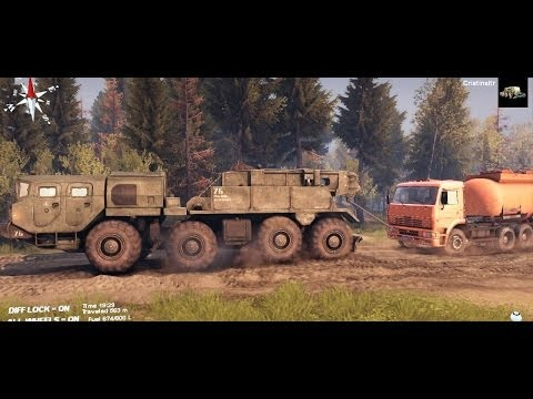SPINTIRES 2014 Full Version Preview - MAZ 7310 8x8 Towing Stuck Trucks