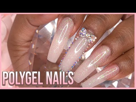 PolyGel Nails with Dual Forms Glitter Polygel Mix - LongHairPrettyNails