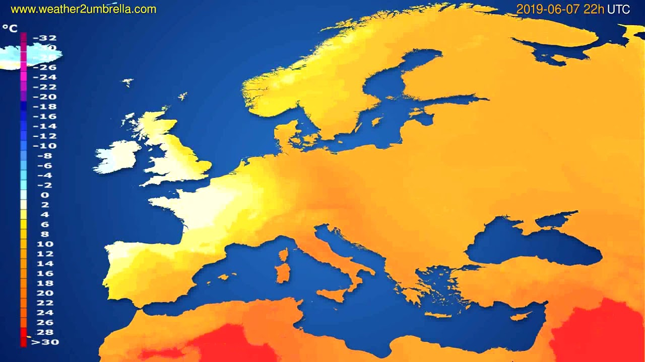 Temperature forecast Europe // modelrun: 00h UTC 2019-06-05