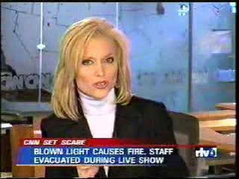 Local News Blooper - studio catches fire