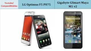 LG Optimus F5 P875 VS Gigabyte GSmart Maya M1 v2, full specifications : Optimus F5 P875 over GSmart Maya M1 v2, Desciption: Dual-core, 1.2 GHz, 540 x 960 pixels, 4.3 inches, Quad-core, 1.2 GHz, 540 x 960 pixels, 4.5 inches, Storage, Screen Resolution, Protection, Display, 3G, GPU
