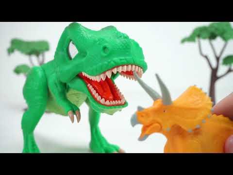 공룡메카드 SD 타이니소어 티라노 등장! 공룡메카드 액션피규어 스테고사우르스 티라노사우루스 브라키오사우루스 트리케라사우루스를 무찌르고 식량을 구하자!  토이문