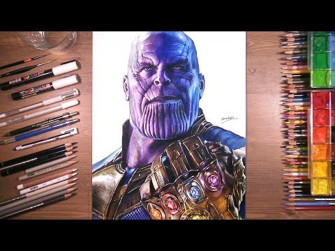 Drawing of Thanos with Infinity Gauntlet