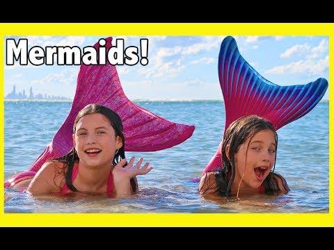 FIN FUN MERMAID HAUL! We turn into the little mermaid & swim at the beach - kid toy review