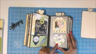 I created a Vertical Paper Bag Mini Album using a tutorial from My Sister Scrapper. Album size is 8.5 x 5. Paper Pad is DCWV Lemon Flower Stack. Thanks for watching