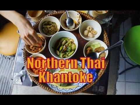 Eating Northern Thai Cuisine Khantoke Set Feast (ขันโตก) for dinner in Chiang Mai, Thailand