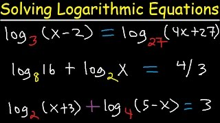 Solving Logarithmic Equations With Different Bases - Algebra 2...