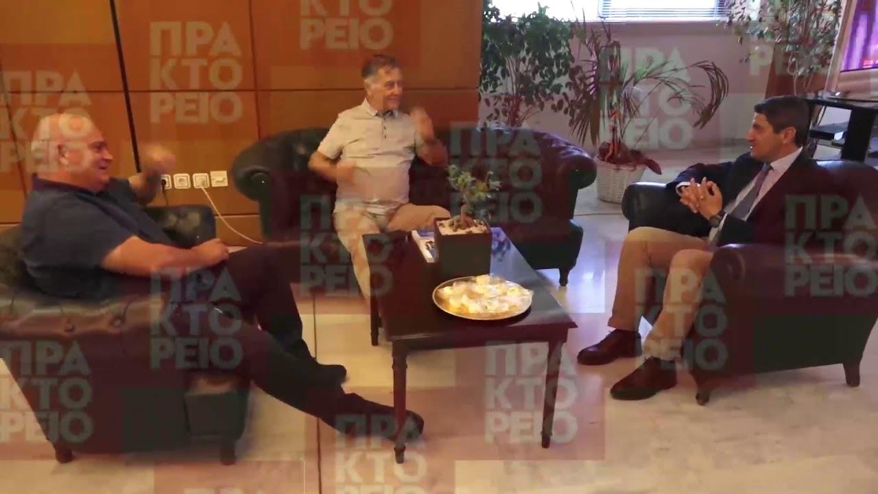 Ο Λευτέρης Αυγενάκης  υποδέχεται τον πρόεδρο και τον μεγαλομέτοχο  της ΠΑΕ Παναιτωλικού