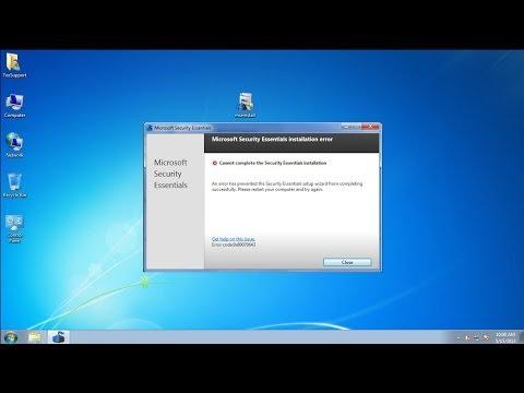 How do I fix Microsoft Security Essentials installing error 0x80070643