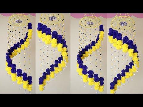 Easy !!! DIY - Woolen Wall Hanging || Home Decoration Idea || DIY Jhumar