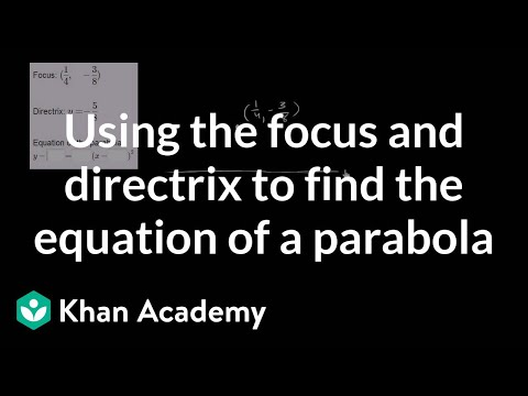 Using the focus and directrix to find the equation of a parabola