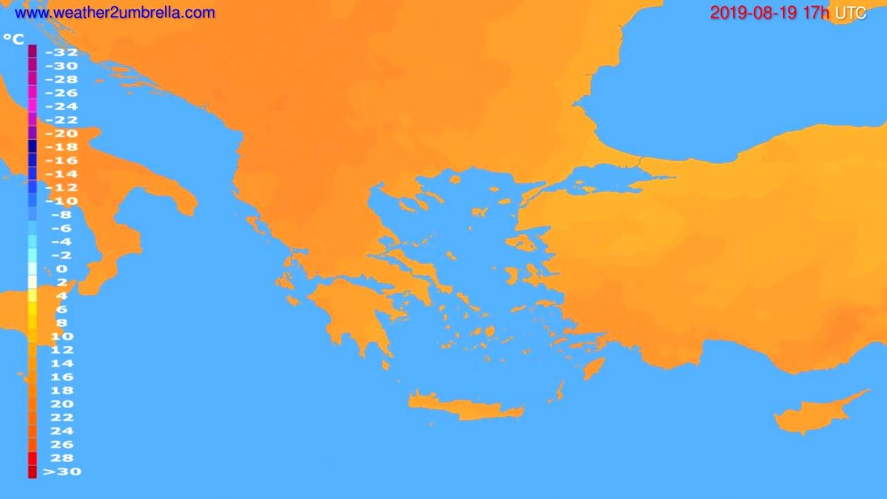 Temperature forecast Greece // modelrun: 12h UTC 2019-08-17