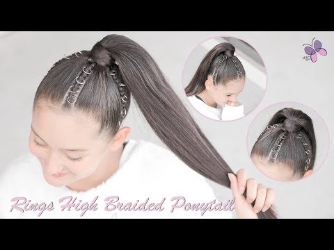 Braid hairstyles - High Braided Ponytail with Rings  Ariana Grande Inspired hair Tutorial  Braided hairstyles