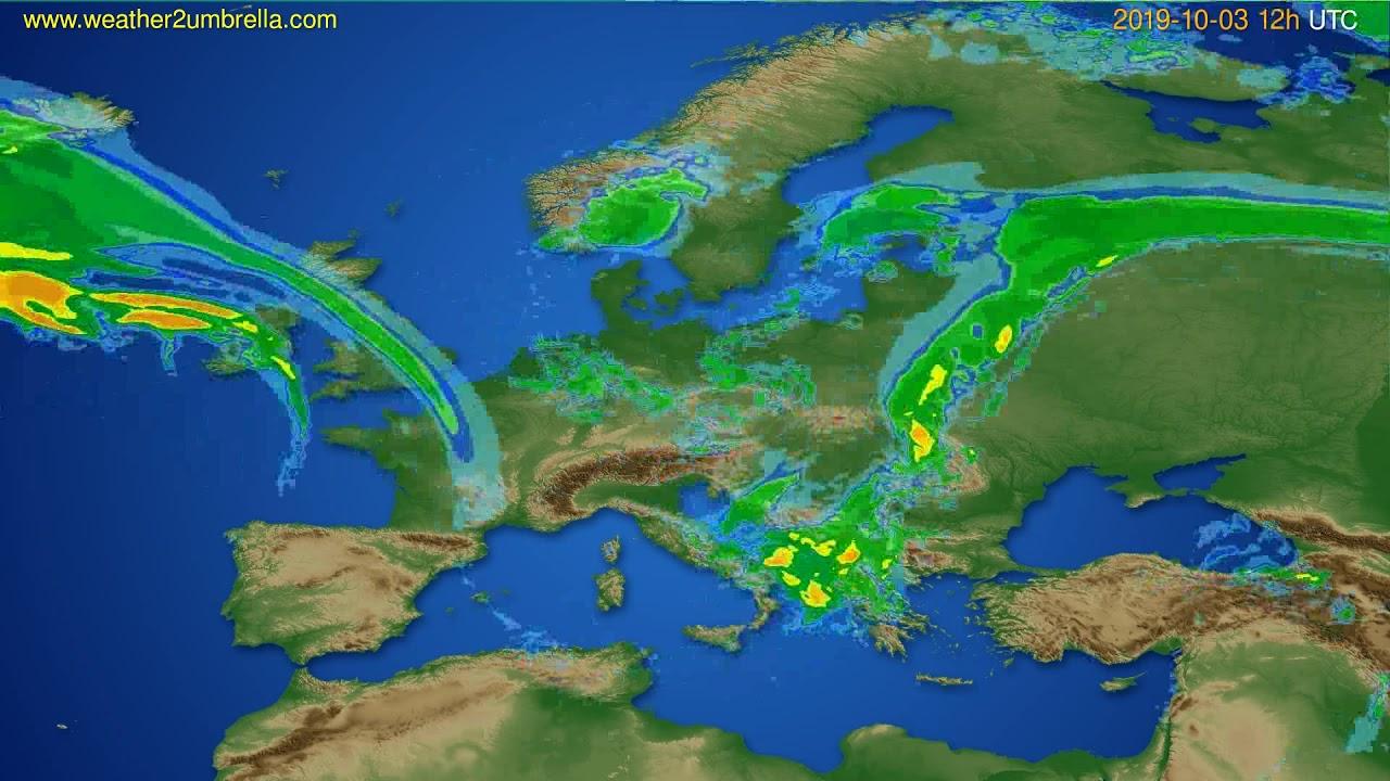 Radar forecast Europe // modelrun: 00h UTC 2019-10-03