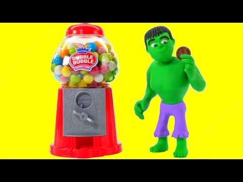 HULK & THE GUMBALL MACHINE ❤ Spiderman, Hulk & Frozen Elsa Play Doh Cartoons For Kids