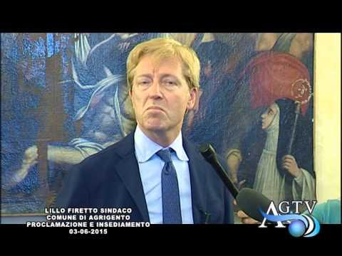 Lillo Firetto Sindaco Comune di Agrigento proclamazione e insediamento 03-06-2015
