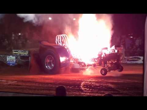Tractor erupts into flames during pulling event