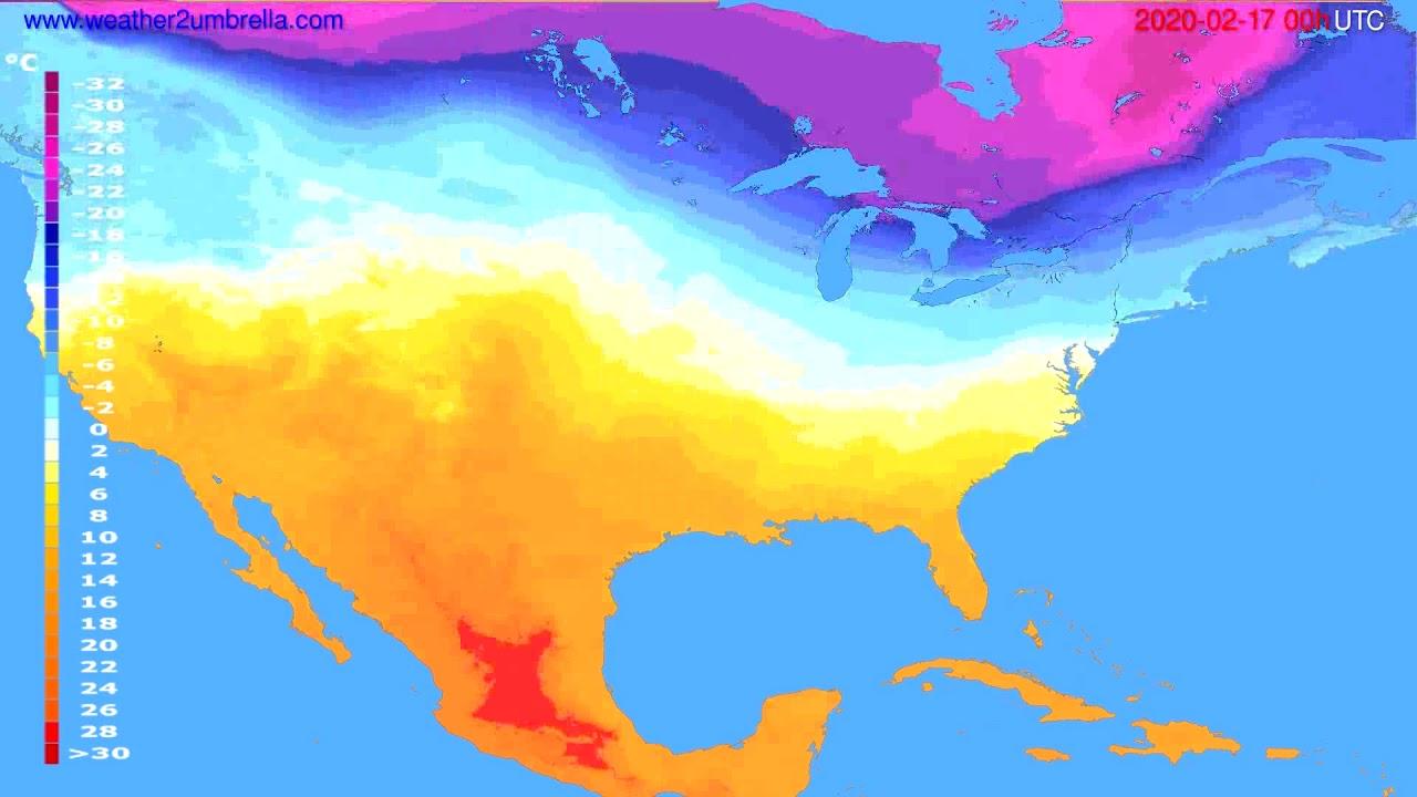 Temperature forecast USA & Canada // modelrun: 00h UTC 2020-02-16