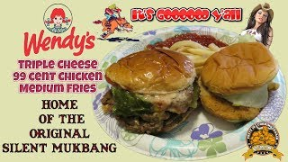 For our Saturday Silent Mukbanging we get some Wendy's !!! On the Menu is a Loaded Triple Cheese Burger , a 99 cent Chicken Sandwich , and Medium Fries !!! Thanks for Watchin my Friends , Fritz ...