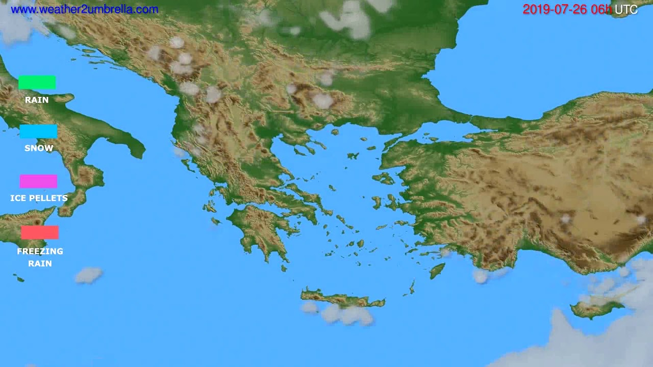 Precipitation forecast Greece // modelrun: 00h UTC 2019-07-24