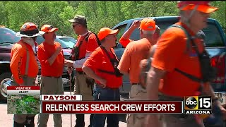Volunteers and law enforcement took to the area on Sunday to search for the missing people. We're hearing that the family was celebrating a birthday in the water when the flash flood hit.