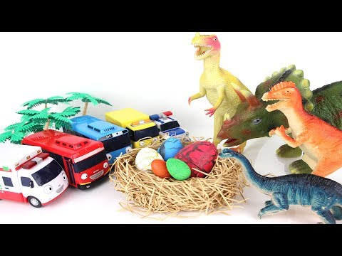 Angry Dinosaurs! Tayo The Little Bus to Steal Eggs. Jurassic Park Dinosaurs Toys Mini Fun Movie.