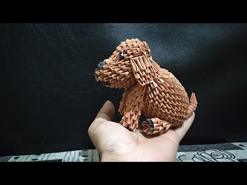 3d Origami Miniature Poodle Dogs Tutorial (easy)