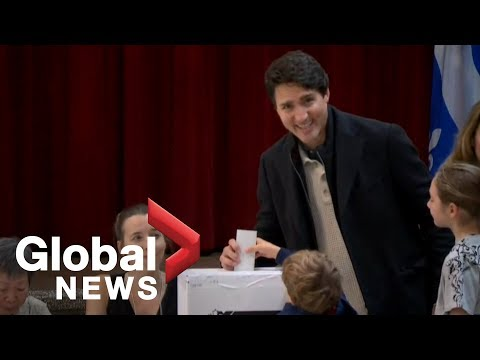 Canada Election Trudeau casts his ballot on election day