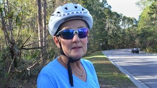 Hilton Head Island bicyclist Pat Bellock shows off her Lumos bike helmet on March 7, 2017. The waterproof, battery powered helmet has lights and turn signals and lasts about five hours before it needs a charge. More information on the helmet can be found at lumoshelmet.co.