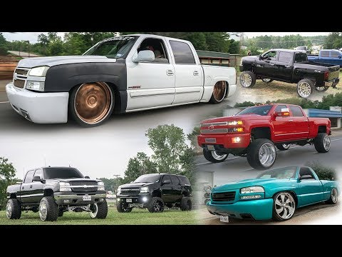 A AUDIO SHOP FULL OF CUSTOM TRUCKS! LIFTED ON SPECIALTY FORGED DROPPED ON BILLETS