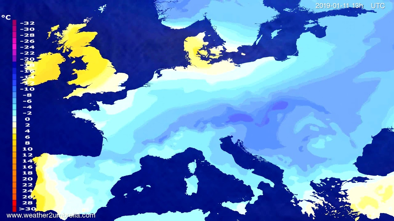Temperature forecast Europe 2019-01-08
