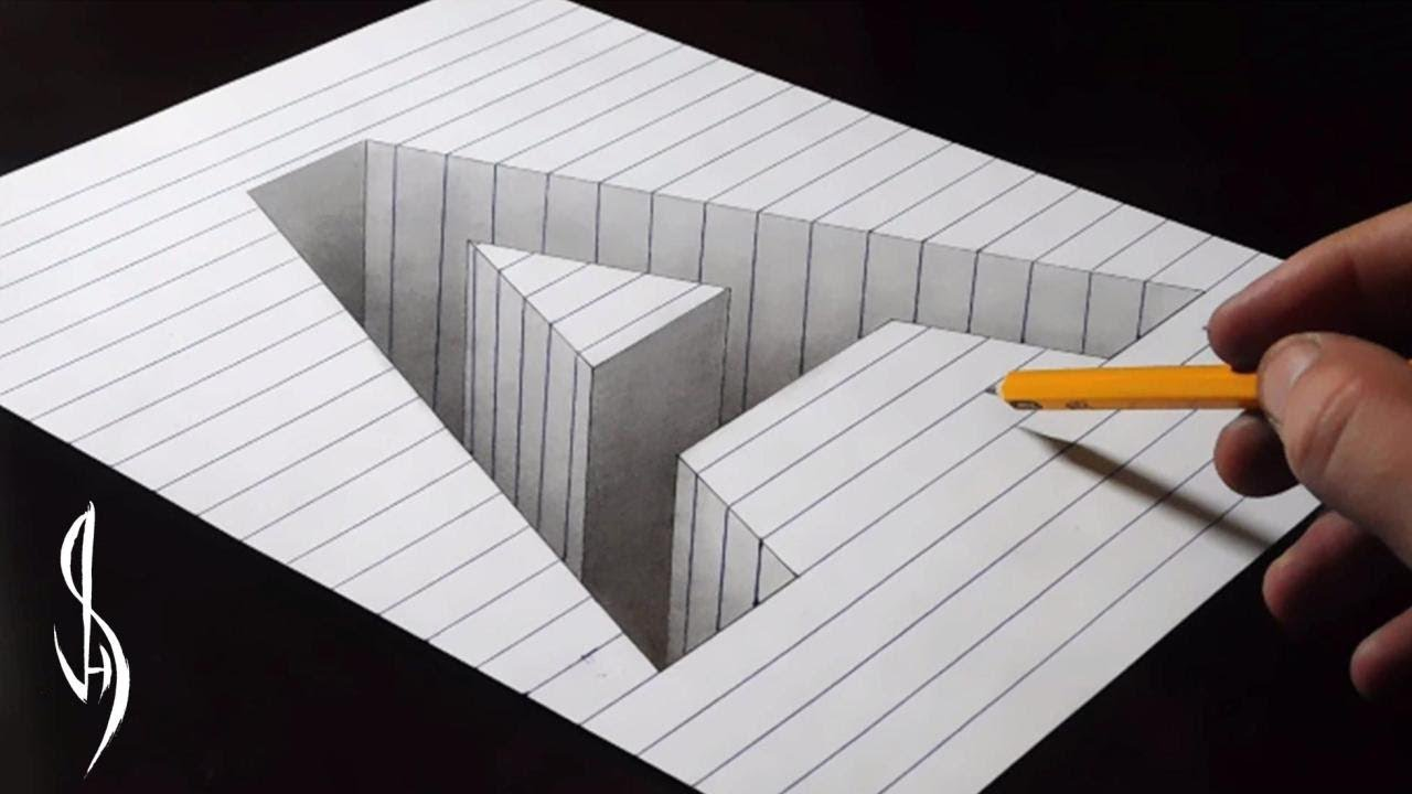 Drawing A Hole in Line Paper - 3D Drawing tutorial