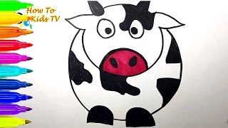 Download Lagu How To Draw a COW Learning Coloring Book Drawing for kids   Learn Colors Mp3